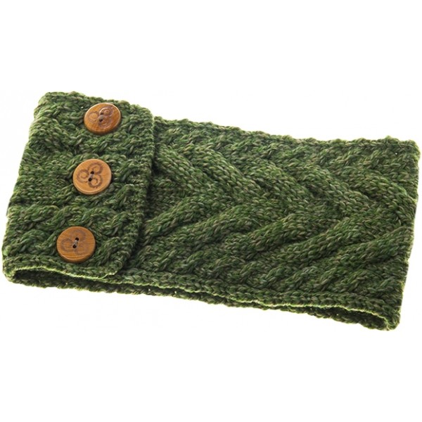 Aran Super Soft Merino Multi Cable Meadow Green Leaf Buttoned Headband