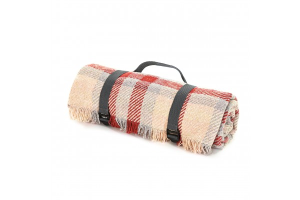 Keith Check Rug Roll Red & Silver